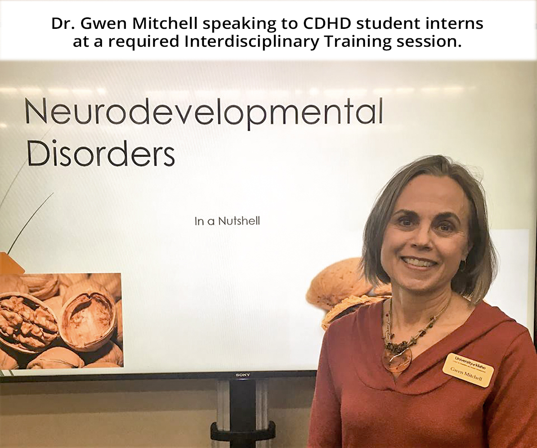 Dr. Gwen Mitchell from the CDHD Clinical Services division giving a presentation on Neurodevelopmental Disorders to CDHD interns at an Interdisciplinary Training session.
