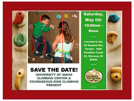 Save the date of May 6 for the free rock climbing event for children with special needs..