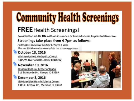 Attend one of the three free community health screenings this fall in Idaho.