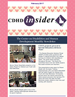 Cover page of February 2017 CDHD Insider Newsletter.