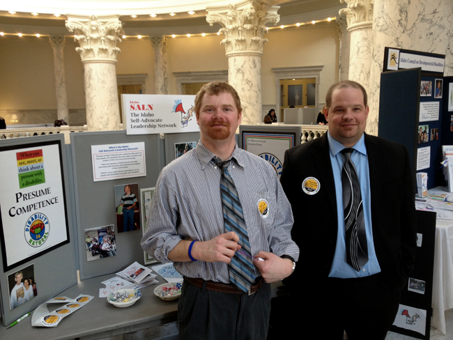 Tom Ball, Boise and Joe Raiden, Moscow, at the Disability Advocacy Day booth at the 2013 conference.
