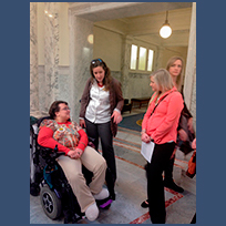 SALN member Shiloh Blackburn at Disability Advocacy Day in 2015.