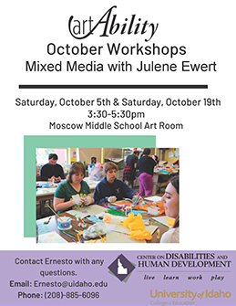 Flier announcing the Free Art Ability workshops for fall 2019.