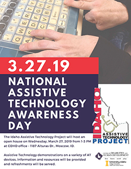 Flier announcing the March 27, 2019 Assistive Technology open house.