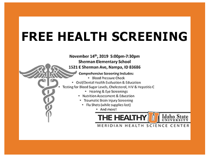 Announcement of free November 14th community health screening.