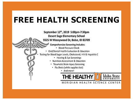 Announcement of free September 12th community health screening.