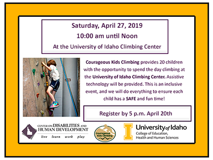 Save the date of April 27, 2019 for the free rock climbing event for children with special needs.