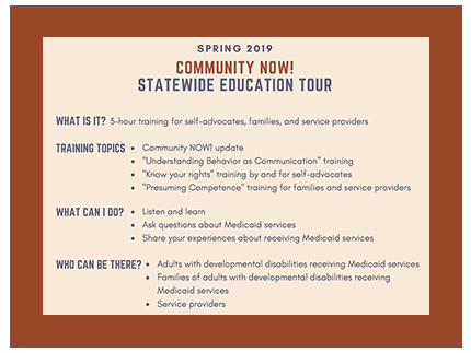 Announcement of Community Now training events held around the State of Idaho.