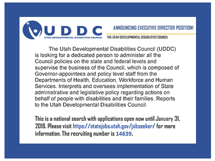 Flyer announcing the search for an Executive Director for the Utah Developmental Disabilities Council.