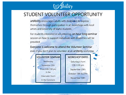 Information on student volunteer opportunity for the upcoming 2018 artAbility workshop.