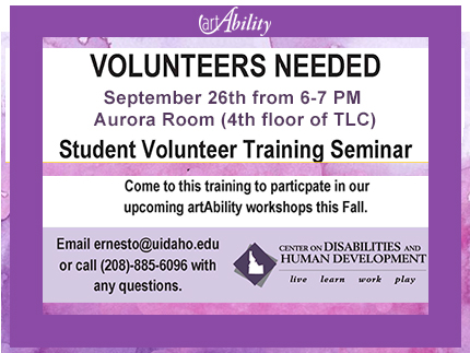Information and on student volunteer opportunity for the upcoming 2019 artAbility workshop.