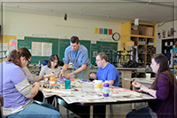 Participants with instructor David Herbold in the Wood Sculptures class.