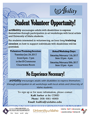 Flier announcing volunteer training opportunities in spring of 2017 for students to help with the art ability project.