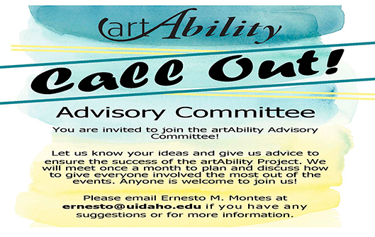 Flier inviting people to join the art Ability Advisory Committee.