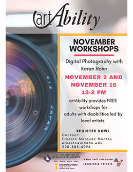 Flier announcing the 2019 November Art Ability workshops on digital photography.