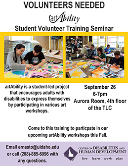 Flier announcing call for volunteers for the 2019-20 art ability project.