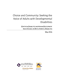Cover page of 2016 Choice and Community study.