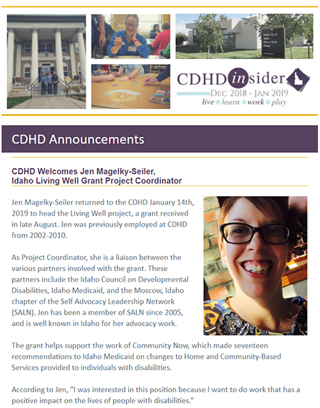 Cover page of December 2018/January 2019 CDHD Insider Newsletter.