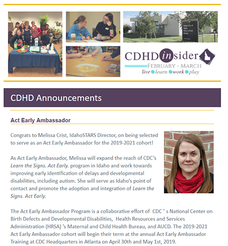 Cover page of February/March 2019 CDHD Insider Newsletter.