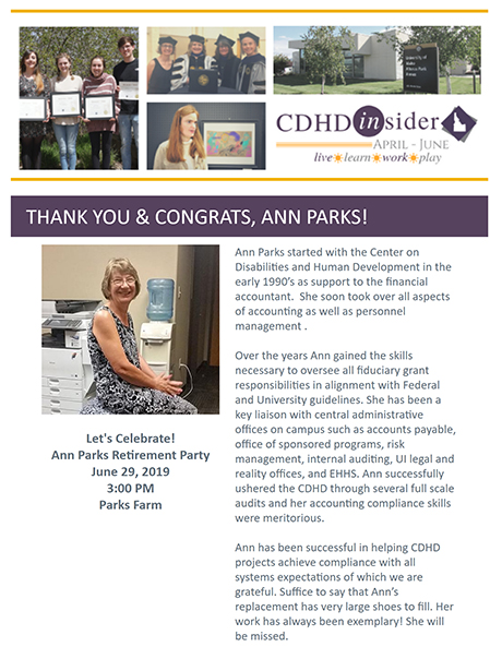 Cover page of April/June 2019 CDHD Insider Newsletter.