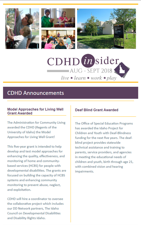Cover page of August/September 2018 CDHD Insider Newsletter.