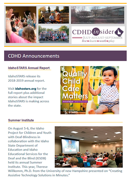 Cover page of July/August/September 2019 CDHD Insider Newsletter.