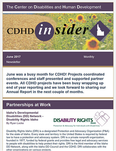 Cover page of June 2017 CDHD Insider Newsletter.