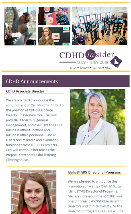 Cover page of May/July 2018 CDHD Insider Newsletter.