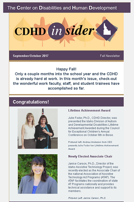 Cover page of Setpember/October 2017 CDHD Insider Newsletter.