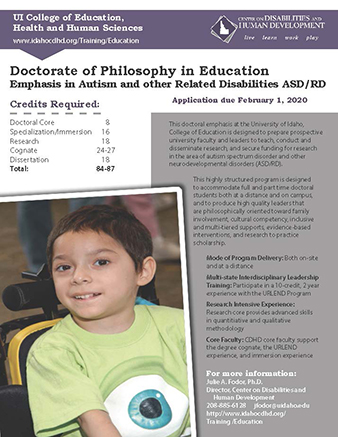 Cover page of PhD informational flier.
