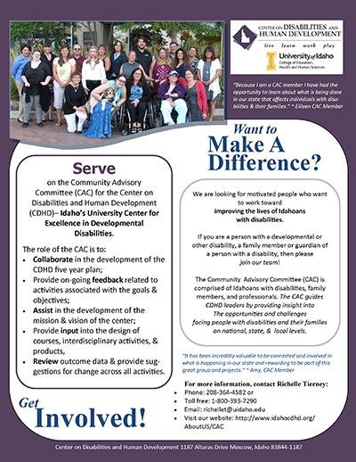 2018 Community Advisory Committee promotional flyer.