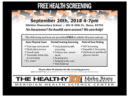 September Free Health Screening | News & Events | Idaho SALN